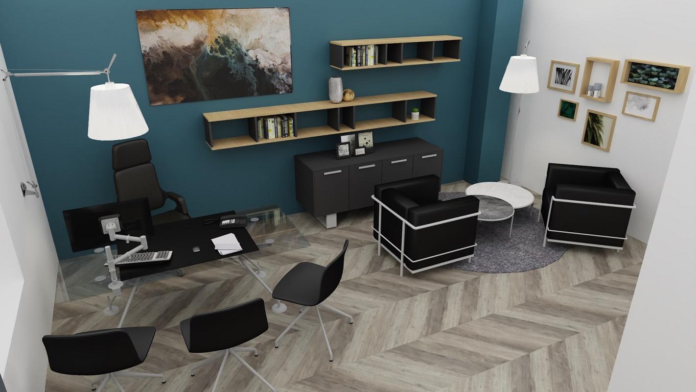 Vue 3D agencement bureau